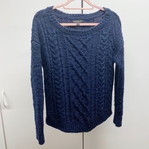 Banana Republic Navy Cable Knit Chunky Sweater